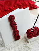 cheap Wedding Dresses-Guest Book / Pen Set Wedding With Satin Flower / Ruche Guest Book / Pen Set