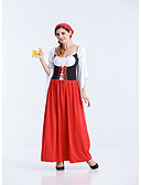 cheap Historical & Vintage Costumes-Oktoberfest Bavarian Cosplay Costume Party Costume Women's Sexy Uniforms More Uniforms Christmas Halloween Carnival Festival / Holiday Terylene Black / Red Carnival Costumes Color Block