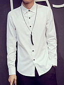 cheap Men's Shirts-Men's Basic Shirt - Solid Colored Spread Collar White XL / Long Sleeve / Spring / Fall