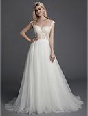 olcso Menyasszonyi ruhák-A-vonalú Illúziós nyakpánt Udvari uszály Csipke / Tüll Made-to-measure esküvői ruhák val vel Rátétek / Csipke által LAN TING BRIDE®