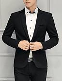cheap Men's Blazers & Suits-Men's Daily Regular Blazer, Solid Colored Shawl Lapel Long Sleeve Acrylic / Polyester Red / Navy Blue / Khaki XXXL / XXXXL / XXXXXL