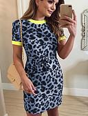 baratos Vestidos Estampados-Mulheres Básico Bainha Vestido Sólido / Leopardo Acima do Joelho