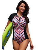 preiswerte Einteilie Badeanzüge-Damen Grundlegend Regenbogen Hohe Taillenlinie Einteiler Bademode - Gestreift L XL XXL Regenbogen / Sexy