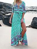 billige Skjorter til damer-Dame Elegant Skjede Kjole Trykt mønster V-hals Maksi / Sexy