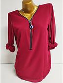 billige Bluse-V-hals Dame - Ensfarvet Basale Plusstørrelser Bluse Mørkegrå