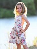 Χαμηλού Κόστους Βρεφικά φορέματα-Παιδιά / Νήπιο Κοριτσίστικα χαριτωμένο στυλ Καθημερινά Φλοράλ Δαντέλα / Με Κορδόνια / Στάμπα Αμάνικο Πολυεστέρας Φόρεμα Λευκό