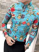 billige Herreskjorter-Tynd Herre - Blomstret Skjorte Blå XL / Kortærmet