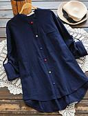 economico T-Shirt da donna-Camicia - Taglie forti Per donna Tinta unita A V - Cotone Blu XXXL / Largo