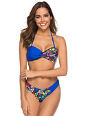 cheap Bikinis-Women's Basic Strap Blue Underwire Cheeky Bikini Swimwear - Geometric M L XL Blue / Sexy