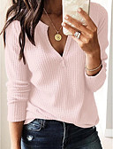 저렴한 블라우스-여성용 솔리드 V 넥 티셔츠, 스트리트 쉬크 화이트 M