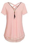 baratos Camisetas Femininas-Mulheres Blusa Frente Única, Sólido