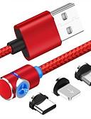 billige Kabler og Lader til mobiltelefon-Mikro USB / Belysning / Type-C Kabel 1m-1.99m / 3ft-6ft 1 til 3 Plastikker / Aluminium USB-kabeladapter Til Samsung / Huawei / Xiaomi