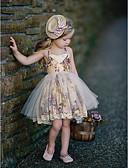 abordables Vestidos de Niña-Niños Chica Básico A Lunares Sin Mangas Algodón / Poliéster Vestido Naranja