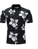 זול חולצות פולו לגברים-גיאומטרי צווארון חולצה בסיסי Polo - בגדי ריקוד גברים שחור / שרוולים קצרים