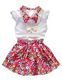 Χαμηλού Κόστους Σετ ρούχων για κορίτσια-Παιδιά / Νήπιο Κοριτσίστικα Ενεργό / Βασικό Καθημερινά / Εξόδου Φλοράλ Στάμπα Κοντομάνικο Κανονικό Κανονικό Βαμβάκι Σετ Ρούχων Λευκό