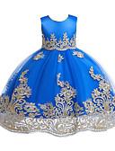 זול שמלות לילדות פרחים-שמלה מידי ללא שרוולים פפיון / טלאים טלאים Party / חגים פעיל / סגנון חמוד בנות ילדים