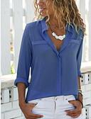 hesapli Gömlek-Kadın's Gömlek Yaka Gömlek Şifon, Solid Beyaz