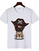 お買い得  メンズフーディー&スウェットシャツ-男性用 プリント Tシャツ ラウンドネック 動物 ホワイト XL / 半袖