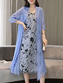 baratos Vestidos Femininos-Mulheres Tamanhos Grandes Sofisticado Elegante Manga Tulipa Algodão Reto Vestido - Estampado, Geométrica Altura dos Joelhos