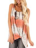 baratos Camisetas Femininas-camisa asiática do tamanho das mulheres - pescoço redondo geométrico