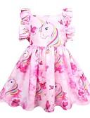 Χαμηλού Κόστους Φορέματα για κορίτσια-Παιδιά Κοριτσίστικα χαριτωμένο στυλ Εξόδου Ουράνιο Τόξο Αμάνικο Ως το Γόνατο Πολυεστέρας Φόρεμα Ανθισμένο Ροζ