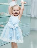 お買い得  女児 ドレス-子供 女の子 ベーシック ソリッド ノースリーブ ドレス ライトブルー