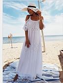 preiswerte Strandkleider-Damen Schulterfrei Weiß Hohe Taillenlinie Cover-Up Bademode - Solide Einheitsgröße Weiß