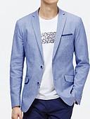 billige Herreblazere og jakkesæt-Herre Daglig Basale Efterår Normal Blazer, Stribet Krave Langærmet Polyester Lyseblå XL / XXL / XXXL