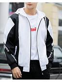 ราคาถูก แจ็กเก็ต &เสื้อโค้ทผู้ชาย-สำหรับผู้ชาย ทุกวัน Street Chic ปกติ แจ๊คเก็ต, ลายบล็อคสี ฮู้ด แขนยาว เส้นใยสังเคราะห์ สีดำ / ทับทิม / สีเหลือง XL / XXL / XXXL