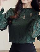זול חולצה-אחיד סגנון רחוב / סגנון סיני חולצה - בגדי ריקוד נשים תחרה / סרוג