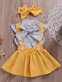 tanie Sukienki dla niemowląt-Dziecko Dla dziewczynek Aktywny Codzienny Groszki Wiązanie Krótki rękaw Regularny Bawełna / Poliester Komplet odzieży Żółty