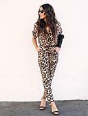 זול סרבלים ואוברולים לנשים-קיץ ללא שרוולים M L XL נמר, Rompers ישר חום בסיסי / בוהו בגדי ריקוד נשים