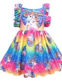 cheap Girls' Sweet Dresses-Kids Girls' Active Holiday Patchwork Pleated Sleeveless Knee-length Polyester Dress Rainbow