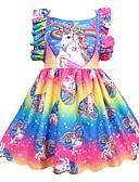 お買い得  女児 ドレス-子供 女の子 活発的 祝日 パッチワーク プリーツ ノースリーブ 膝丈 ポリエステル ドレス レインボー