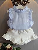Χαμηλού Κόστους Σετ ρούχων για κορίτσια-Παιδιά Κοριτσίστικα Βασικό Στάμπα Κοντομάνικο Κανονικό Κανονικό Πολυεστέρας Σετ Ρούχων Ανθισμένο Ροζ