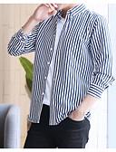 お買い得  メンズシャツ-男性用 シャツ ストライプ グレー XXXL