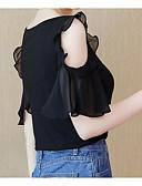 זול חולצה-אחיד בסיסי חולצה - בגדי ריקוד נשים קפלים / טלאים
