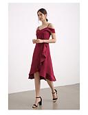 זול שמלות שושבינה-גזרת A רצועות באורך  הברך שיפון שמלה לשושבינה  עם שסע קדמי / קפלים מדורגים על ידי LAN TING Express