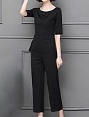baratos Conjuntos Femininos-Mulheres Básico / Moda de Rua Conjunto Sólido Calça