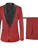 ieftine Costume-Fracuri Standard Fit Șal  Guler Un singur rând, un nasture polyster Bloc Culoare