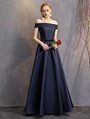 abordables Vestidos de Dama de Honor-Corte en A Hombros Caídos Hasta el Suelo Seda Vestido de Dama de Honor con Plisado por LAN TING Express