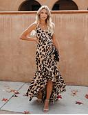Χαμηλού Κόστους Σετ ρούχων για αγόρια-Γυναικεία Κομψό Swing Φόρεμα - Λεοπάρ Μακρύ