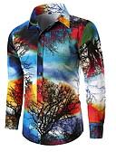 levne Pánské košile-Pánské - Listy / Stromy EU / US velikost Košile Vodní modrá US38 / Dlouhý rukáv