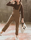 hesapli Kız Çocuk Kıyafet Setleri-Çocuklar Genç Kız Actif Sokak Şıklığı Günlük Dışarı Çıkma Solid Kırk Yama Uzun Kollu Normal Kıyafet Seti Kahverengi