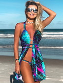 זול ביקיני ובגדי ים-פול M L XL גיאומטרי, בגדי ים טנקיני פול בגדי ריקוד נשים