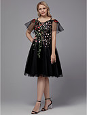 cheap Prom Dresses-Plus Size A-Line Spaghetti Strap Knee Length Tulle Little Black Dress Cocktail Party Dress with Appliques / Embroidery by TS Couture®