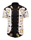 お買い得  メンズシャツ-男性用 プリント シャツ スリム 幾何学模様 / チェック / グラフィック ブラック L
