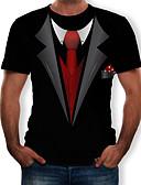 זול חולצות לגברים-קולור בלוק / 3D / גראפי טישרט - בגדי ריקוד גברים דפוס שחור