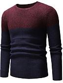 お買い得  メンズセーター&カーデガン-男性用 カラーブロック プルオーバー グレー / ワイン / アーミーグリーン L / XL / XXL