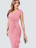 cheap Romantic Lace Dresses-Women's Basic Slim Sheath Dress - Solid Colored Patchwork V Neck Blue Black Blushing Pink L XL XXL